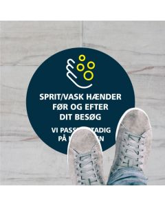 SPRIT/VASK HÆNDER KLISTERMÆRKE, 20 CM RUND