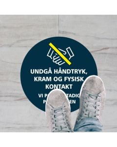 UNDGÅ HÅNDTRYK KLISTERMÆRKE, 20 CM RUND